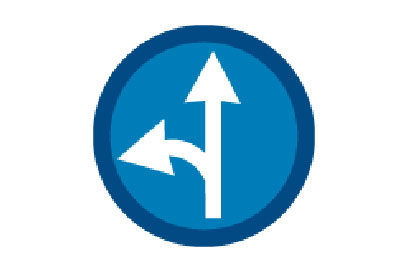 Go Ahead or left - Direction Signs