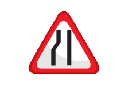 Left Lane Narrow - Direction Signs