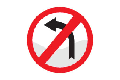 No Left Turn - Direction Signs