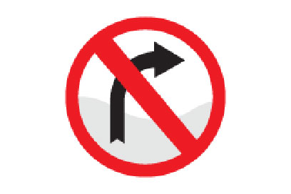 No Right Turn - Direction Signs