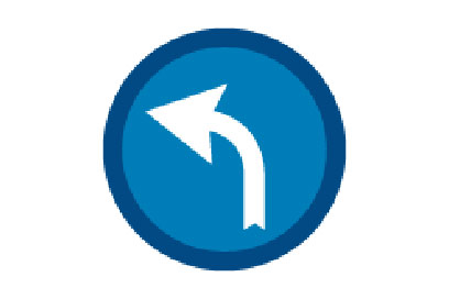 Turn Left Ahead - Direction Signs